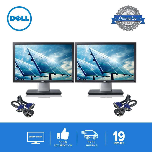 "DUAL DELL 19"" Wide LCD FLAT PANEL REFURBISHED MONITOR SCREEN"