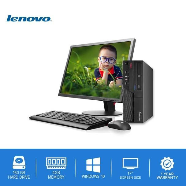 "Lenovo-ThinkCentre Desktop Computer PC – Intel Core 2 Duo - 4GB Memory – 160GB Hard Drive - Windows 10-17"" LCD"