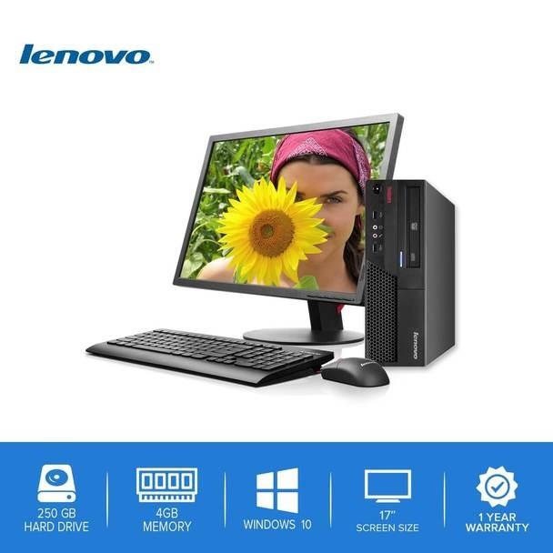 "Lenovo-ThinkCentre Desktop Computer PC – Intel Core 2 Duo - 4GB Memory – 250GB Hard Drive - Windows 10 with a 17"" LCD"