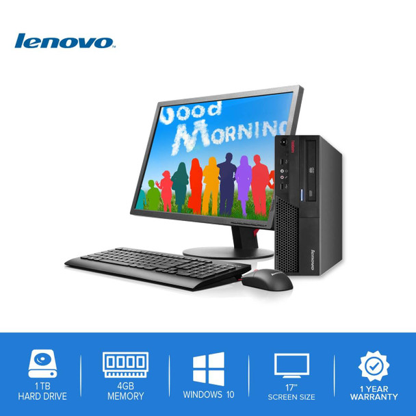 "Lenovo-ThinkCentre Desktop Computer PC – Intel Core 2 Duo - 4GB Memory – 1TB Hard Drive - Windows 10 with a 17"" LCD"