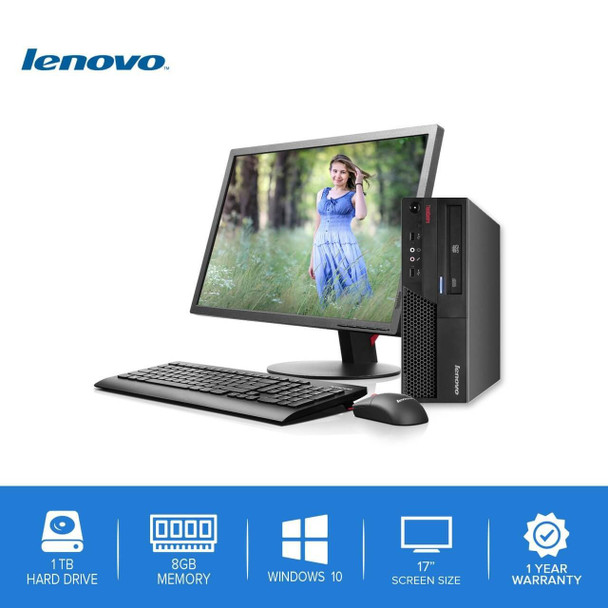 "Lenovo-ThinkCentre Desktop Computer PC – Intel Core 2 Duo - 8GB Memory – 1TB Hard Drive - Windows 10 with a 17"" LCD"