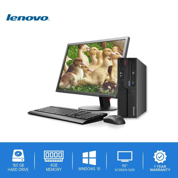 "Lenovo-ThinkCentre Desktop Computer PC – Intel Core 2 Duo - 4GB Memory – 160GB Hard Drive - Windows 10-19"" LCD"