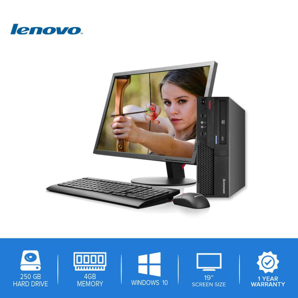 "Lenovo-ThinkCentre Desktop Computer PC – Intel Core 2 Duo - 4GB Memory – 250GB Hard Drive - Windows 10 with a 19"" LCD"