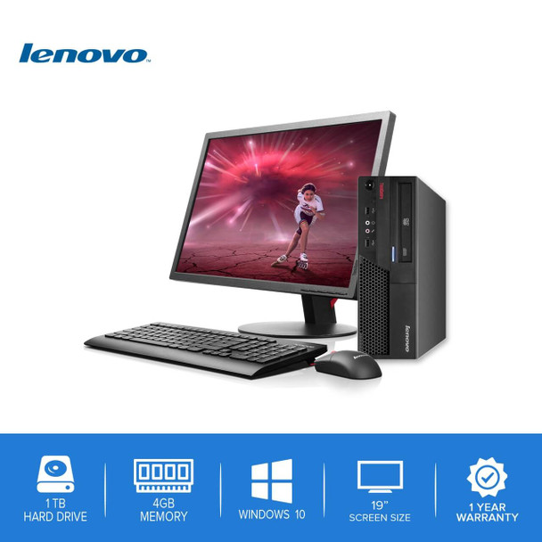 "Lenovo-ThinkCentre Desktop Computer PC – Intel Core 2 Duo - 4GB Memory – 1TB Hard Drive - Windows 10 with a 19"" LCD"