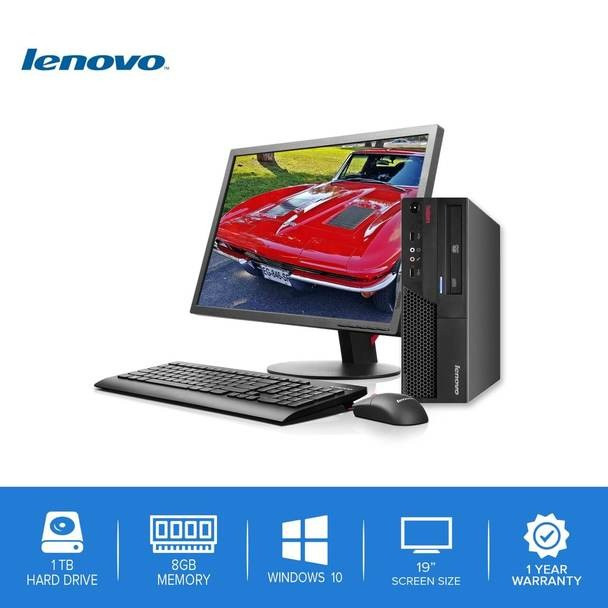 "Lenovo-ThinkCentre Desktop Computer PC – Intel Core 2 Duo - 8GB Memory – 1TB Hard Drive - Windows 10 with a 19"" LCD"