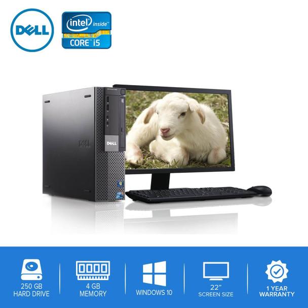 """980-Dell PC Computer Desktop CORE i5 3.0GHz 4GB 250GB HD Windows 10 w/ 22"""" LCD"""