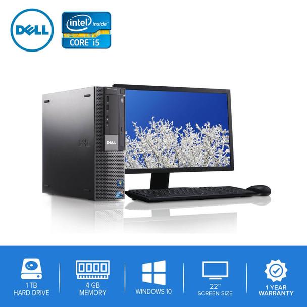 """980-Dell PC Computer Desktop CORE i5 3.0GHz 4GB 1TB HD Windows 10 w/ 22"""" LCD"""