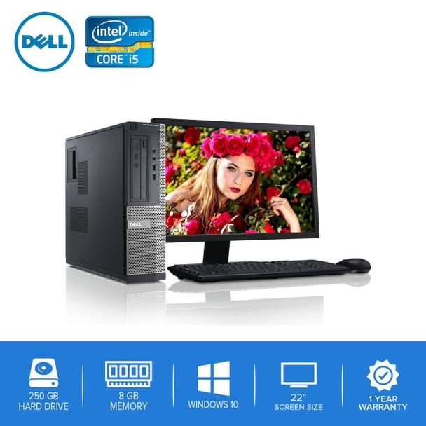 """790-Dell PC Computer Desktop CORE i5 3.0GHz 8GB 250GB HD Windows 10 w/ 22"""" LCD"""