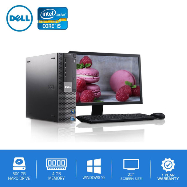 "980-Dell PC Computer Desktop CORE i5 3.0GHz 4GB 500GB HD Windows 10 w/ 22"" LCD"