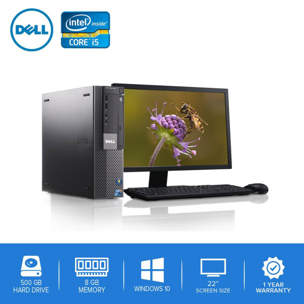 "980-Dell PC Computer Desktop CORE i5 3.0GHz 8GB 500GB HD Windows 10 w/ 22"" LCD"