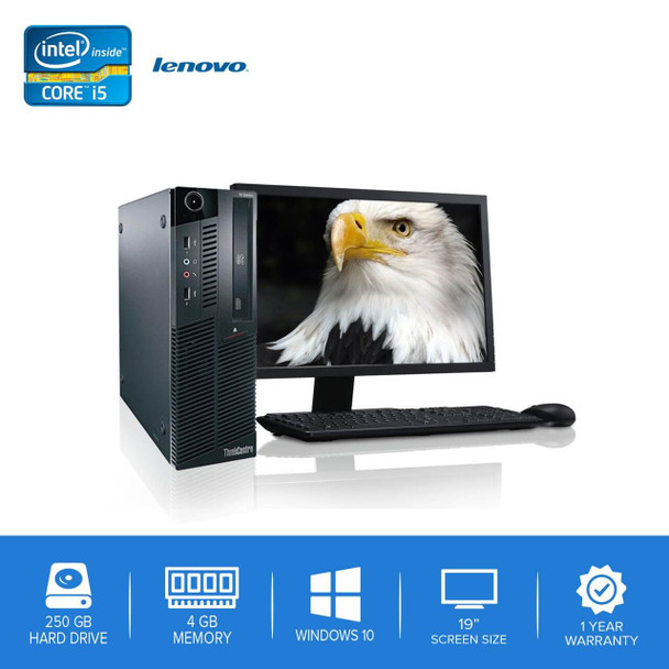 "Lenovo-ThinkCentre M90 M91 Desktop Computer PC – Intel Core i5- 4GB Memory – 250GB Hard Drive - Windows 10 with 19"" LCD"