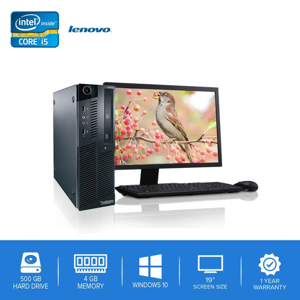"Lenovo-ThinkCentre M90 M91 Desktop Computer PC – Intel Core i5- 4GB Memory – 500GB Hard Drive - Windows 10 with 19"" LCD"
