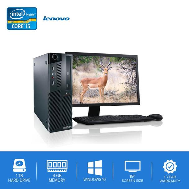 "Lenovo-ThinkCentre M90 M91 Desktop Computer PC – Intel Core i5- 4GB Memory – 1TB Hard Drive - Windows 10 with 19"" LCD"