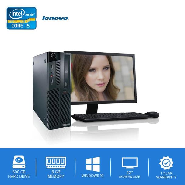 "Lenovo-ThinkCentre M90 M91 Desktop Computer PC – Intel Core i5- 8GB Memory – 500GB Hard Drive - Windows 10 with 22"" LCD"