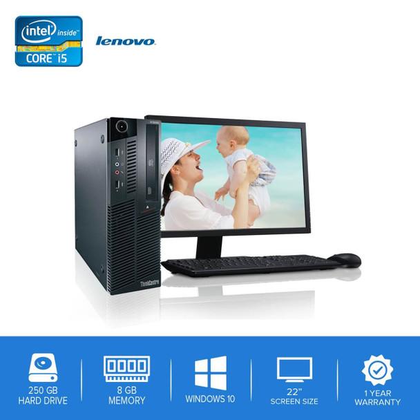 "Lenovo-ThinkCentre M90 M91 Desktop Computer PC – Intel Core i5- 8GB Memory – 250GB Hard Drive - Windows 10 with 22"" LCD"
