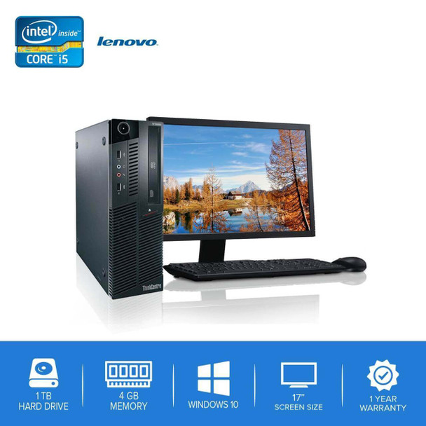 "Lenovo-ThinkCentre M90 M91 Desktop Computer PC – Intel Core i5- 4GB Memory – 1TB Hard Drive - Windows 10 with 17"" LCD"