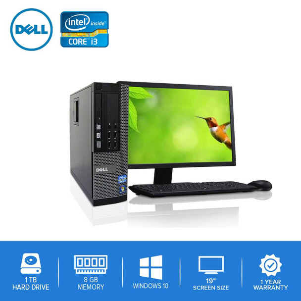 "Refurbished Dell PC CORE i3 3.0GHz 8GB 1TB HD Windows 10 w/ 19"" LCD"