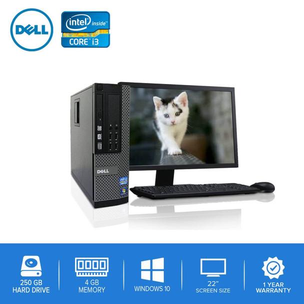 "Refurbished Dell Computer CORE i3 3.0GHz 4GB 250GB HD Windows 10 w/ 22"" LCD"