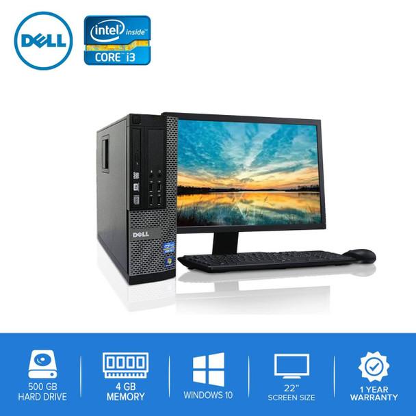 "Refurbished Dell PC CORE i3 3.0GHz 4GB 500GB HD Windows 10 w/ 22"" LCD"