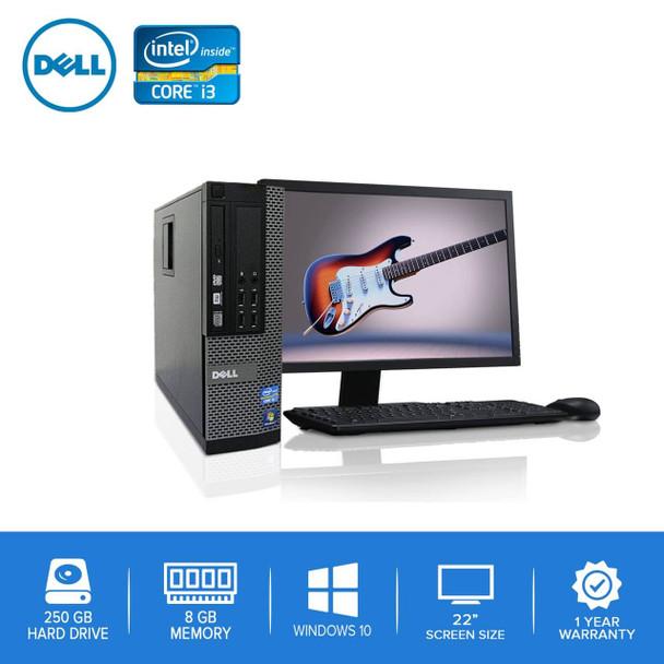 "Refurbished Dell Computer CORE i3 3.0GHz 8GB 250GB HD Windows 10 w/ 22"" LCD"