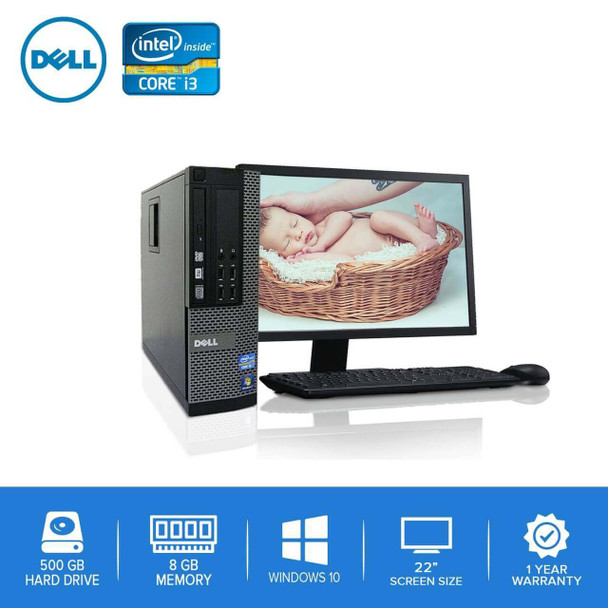 "Dell PC Computer Desktop CORE i3 3.0GHz 8GB 500GB HD Windows 10 w/ 22"" LCD"