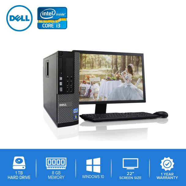 "Refurbished Dell PC CORE i3 3.0GHz 8GB 1TB HD Windows 10 w/22"" LCD"