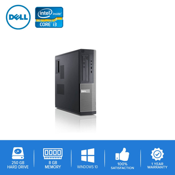 Refurbished Dell Computer CORE i3 3.0GHz 8GB 250GB HD Windows 10