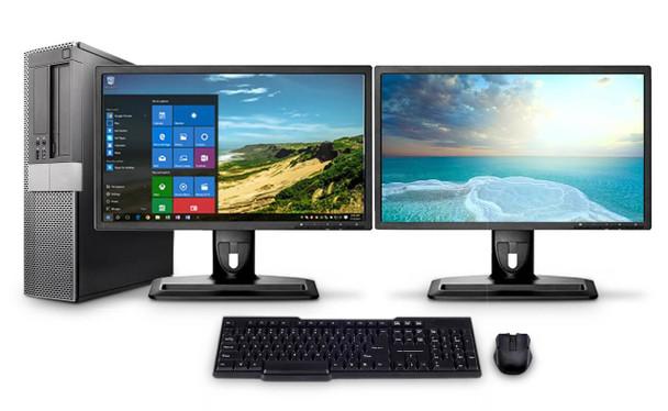 "Dell PC Computer Desktop CORE i3 3.0GHz 4GB 500B HD Windows 10 W/Dual 19"""