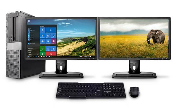 Dell PC Computer Desktop CORE i5 3.0GHz 8GB 250GB HD Windows 10 W/Dual 19