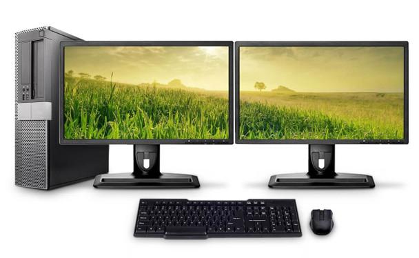 Dell PC Computer Desktop CORE i5 3.0GHz 8GB 500B HD Windows 10 W/Dual 19
