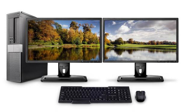 Dell PC Computer Desktop CORE i5 3.0GHz 8GB 1TB HD Windows 10 W/Dual 24