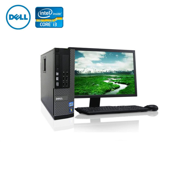 "Dell PC Computer Desktop CORE i3 3.0GHz 4GB 128SSD HD Windows 10 w/ 19"" LCD"