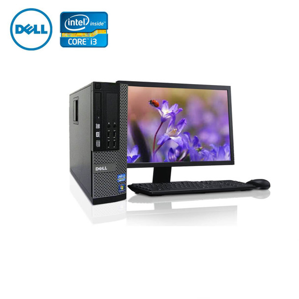 "Dell PC Computer Desktop CORE i3 3.0GHz 8GB 128SSD HD Windows 10 w/ 22"" LCD"