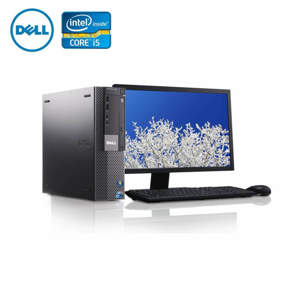 "980-Dell PC Computer Desktop CORE i5 3.0GHz 8GB 256SSD HD Windows 10 w/ 22"" LCD"