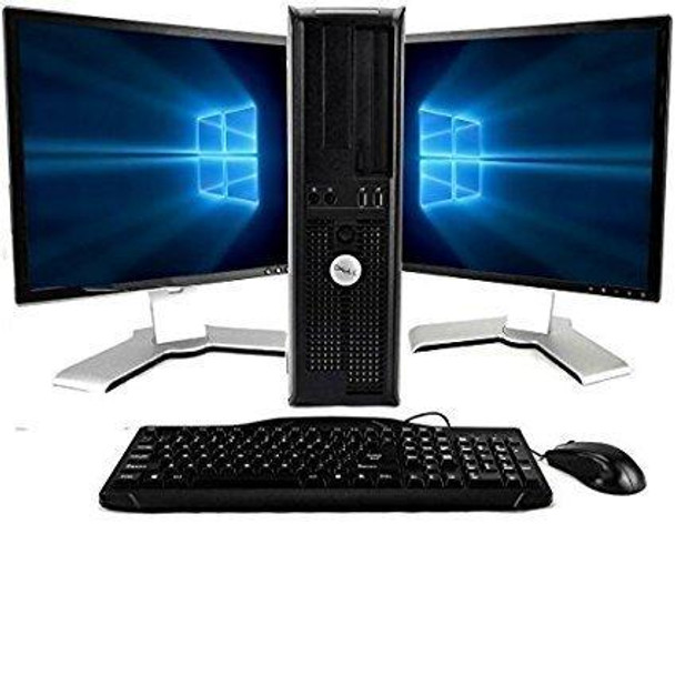 Dell, Windows 10, Core 2 Duo 2.9GHz, New 8GB Memory, 1TB, DVD-RW, Dual 19in LCD Monitors (Brands may vary)