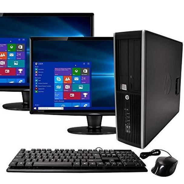HP Elite Desktop Computer, Intel Core i5 3.1GHz, 8GB RAM, 1TB SATA HDD, Keyboard & Mouse, Wi-Fi, Dual 19in LCD Monitors (Brands Vary), DVD-ROM, Windows 10
