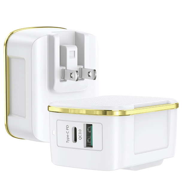 USB C Charger ORCAA 36W 2 Ports Wall Charger with PD QC3.0 Fast Charging Power Delivery Foldable Adapter, Compatible for iPhone 11 Pro Max X XS XR 8, Galaxy S10 S9+ S9, iPad Pro and More