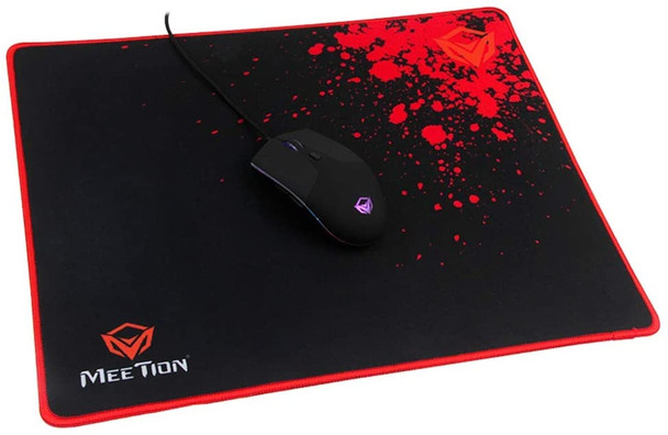 MEETiON P110 Non-Slip Gaming Mouse Pad, Cloth Surface Optimized for Precision, Stitched Anti-Curl PC Computer