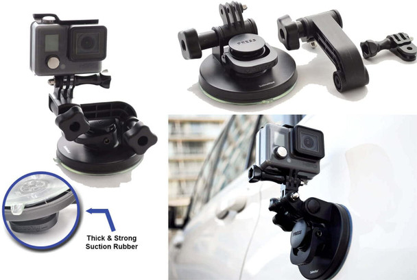 Suction cup good for GoPro Mount car, windshield window, vehicles, boat camera holder, good for GoPro Max 360 Hero 8 Black Hero 7, Black Hero 6, Here 5, Here 4 HD, perfect to keep devices intact, stable and sturdy.