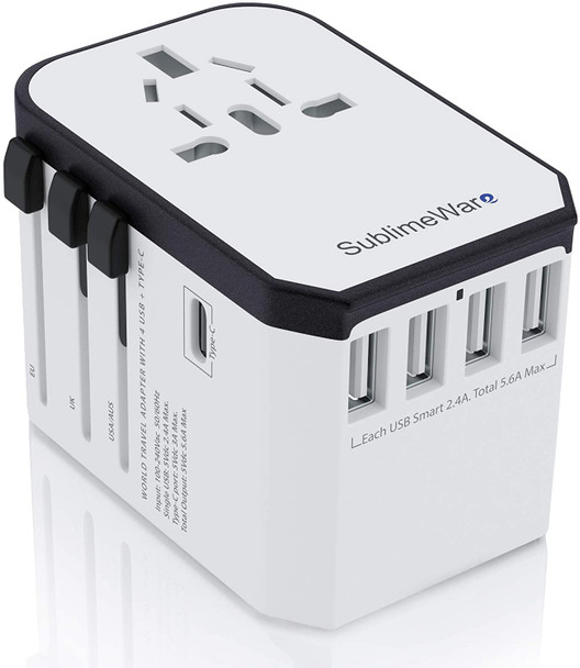 Power plug adapter for international travel, use in multiple countries w/5 USB Ports and USB Type C. Works in 150+ countries with 220 Volt adapter included. This is the perfect travel adapter.