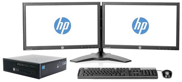 "HP Full Dual Monitor Desktop Setup - Intel Up to Quad Core 8GB RAM 1TB HDD Desktop - Dual 22"" HP Monitor"