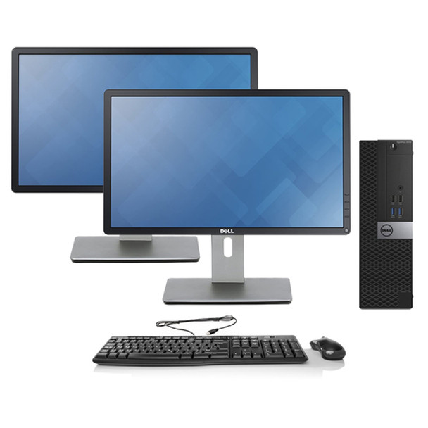 "Dell Dual Monitor 6th Gen Desktop Full Setup - Intel Core i3 16GB RAM 1TB HDD Windows 10 - 24"" Dell Monitors"