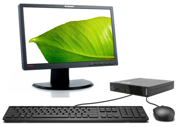 "Lenovo Tiny PC Full Setup - Intel Core i3 8GB RAM 128GB SSD Windows 10 - 19"" Monitor"