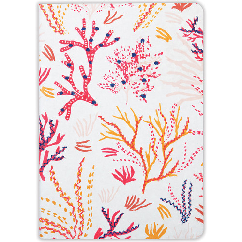 Handmade Journal Embroidered Coral