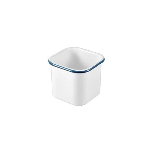 Enamel, Deli Antipasto Container, White with Blue Rim