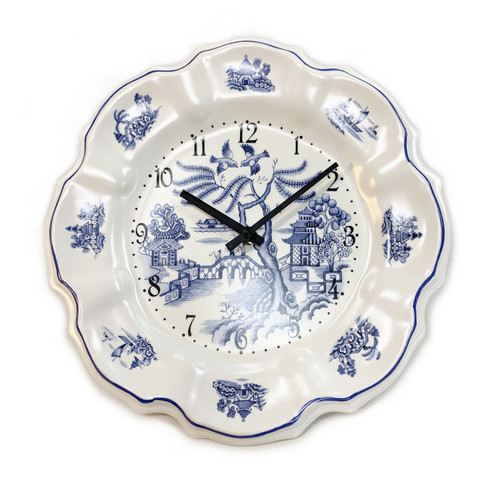 Wall Clock, Blue Willow Plate