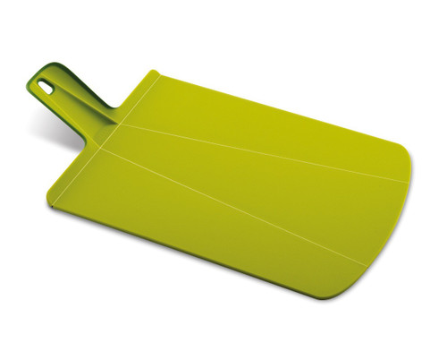 Green, thin rectangular board with a folded up handle, and rounded corners at opposite end of board.