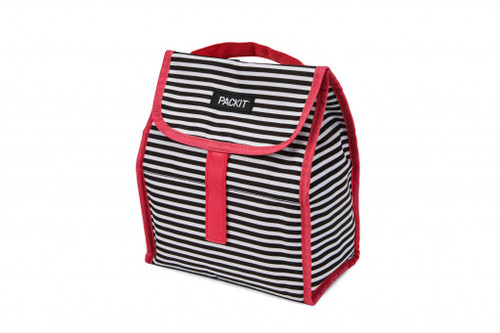 Black and white narrow striped upright bag with pink trim and fold over velcro closure