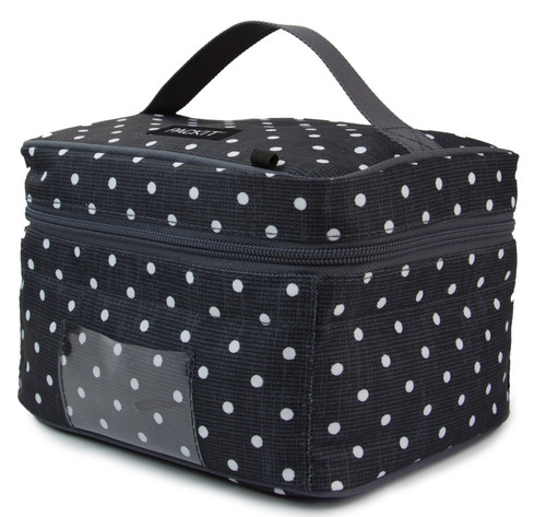 Black box shaped bag with small white polka dots and handle on top. Clear pocket on front.