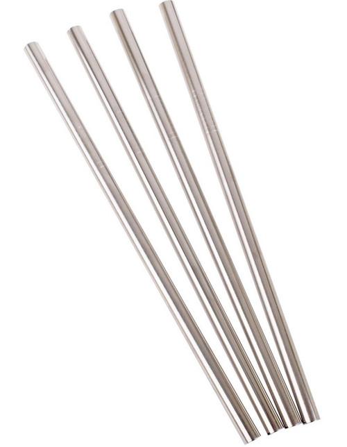 Four , wide, metal straws arranged in a narrow fan shape